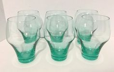 SET OF 6 RARE SLEEK Mid Century AQUA TEAL GLASS DRINKING GLASSES FROM JAPAN EUC
