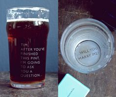 [leapoffaithyear]  etched pint glass for proposing with by…