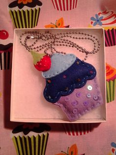 Blue & Purple Sprinkled Felt Cupcake Necklace by PetuniasFinest, $5.00