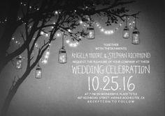 black and white tree mason jars and firefly lights wedding invitation