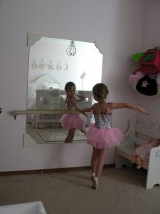 Every aspiring ballerina needs her own mirror and bar to  admire herself  practice on, right?  So the engineer, being the loving and doting father that he is, went straight to work.