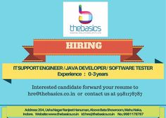 IT Support Engineer, JAVA Developer, Software Tester - Experience - o to 3 Years Details :- Mentioned Below Job Posting, Java, 3 Years, Resume, Software, Engineering, Digital, 3rd Birthday, Curriculum
