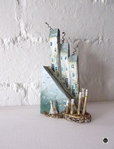 Your place to buy and sell all things handmade Wooden Cottage, Coastal Cottage, Coastal Decor, Fish Collage, Recycled Gifts, Teal Coral, Little Cottages, Wooden Ornaments, Driftwood Art