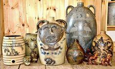 Face Jugs, Love Blue, Animal Design, Crock, Stoneware, Folk Art, Southern, Objects, Pottery