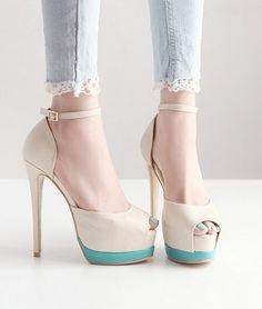sexy nude and mint green peep toe high heels *MAD LOVE*