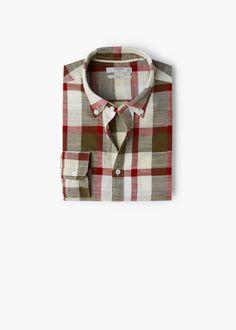 Slim-fit rutete bomullsskjorte