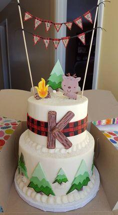 Woodland Animal & Buffalo Plaid inspired Baby Shower Cake