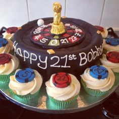 Roulette Themed cake and cupcakes