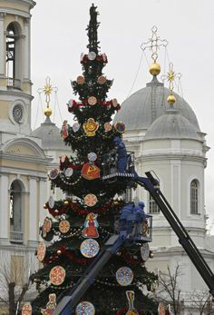 Christmas trees: St Vladimir Cathedral, St Petersburg (city to erect 68 trees, only one not artifical).