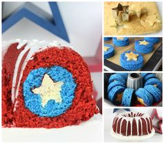 Marvel Captain America Bundt Cake for the Fourth of July - Visit now to grab yourself a super hero shirt today at 40% off!b #HiveSurvives