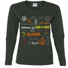 Halloween Spooky Mashup Missy Fit long sleeve T-Shirt
