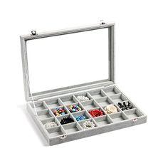 Valdler Clear Lid 24 Grid Jewelry Tray Showcase Display Storage Valdler http://www.amazon.com/dp/B00VUVFRLA/ref=cm_sw_r_pi_dp_bmiyvb1TYKFZE