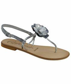 CAFèNOIR - Damen Zehensandale #flowers #metallic #sandals