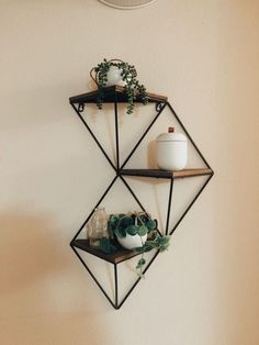 home accessories design Creative Wall Accessories Geometric Shelves, Geometric Wall, Plank, Reclaimed Wood Shelves, Wood And Metal Shelves, Tv Wall Decor, Diy Inspiration, Wall Accessories, Creative Walls