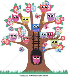 Clip Art of owls in a tree - Search Clipart, Illustration Posters, Drawings, and EPS Vector Graphics Images - Illustrations Médicales, Cubby Tags, Owl Clip Art, Owl Classroom, Cartoon Birds, Owl Tree, Owl Family, Owl Nursery, Owl Pictures
