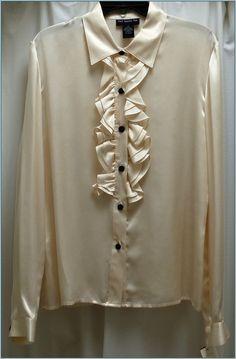 TWO TWENTY FIVE  IVORY  Sz 10 Top  100% SILK  Lng Sleeve Blouse Shirt  NWT  #TWOTWENTYFIVE #Blouse