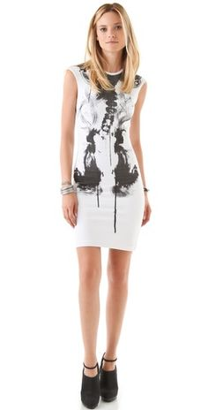 A cool Rorschach test dress. Love McQ's abstractions. I see smoke or an x-ray.