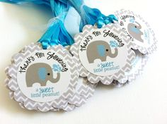 No wonder these elephant tags are so popular. These elephant favor tags are so cute and perfect for a baby boy shower party! The gray elephant with blue stripe ear playing with water is so adorable. Each gift tag has a fun phrase that says Thanks for Showering a Sweet Little Peanut! I use Chevron...