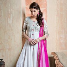 White Art Silk Readymade Anarkali Churidar Kameez