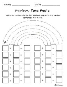 Rainbow Tens Facts - Miss Kindergarten Love - TeachersPayTeachers.com