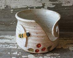 White Bee Hive YarnBowl  BarbarahRobertsonPottery