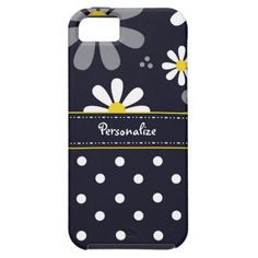 Girly Mod Daisies and Polka Dots With Name iPhone 5 Cover