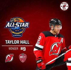 Congrats to Taylor Hall who will represent the Metropolitan Division at the NHL All Star Game ! Taylor Hall, Nhl All Star Game, Hockey Stuff, New Jersey Devils, Ice Hockey, Division, Bb, Champion, Sports