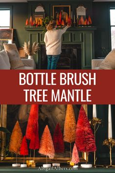 These bottle brushes are an easy, fun, colorful, simple Thanksgiving, Christmas and holiday decor. I set just a few of these trees on the mantle as I was unpacking my ornaments and I loved the way the green looked against the burnt oranges and pinks. I decided to fill the mantle with the rest of these bottle brush trees and call it a day. Cozy Cottage, Cottage Homes, Christmas Room, Bottle Brush Trees, Christmas Decorations, Holiday Decor, Decorating Your Home, Fall Decorating, Shabby Chic Homes