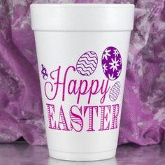 Printed & Ready to Ship 16 oz. Foam Easter Cups HAPPY