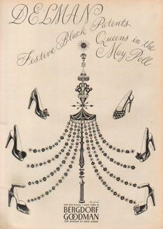 """1940s Bergdorf Goodman and Delman Shoes ad. for """"festive black patents"""""""