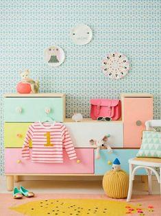 weiße wand mit bunten sternen   wanddeko   pinterest   wände - Kinderzimmer Tapeten Ideen