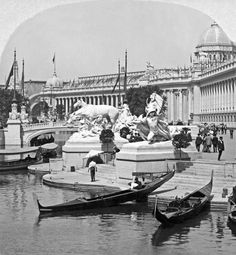 Palace of Varied Industries and Gondola Landing on the Sunken Gardens.  St. Louis Fair, 1904.