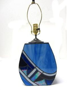 Stained Blue Glass Abstract Lamp