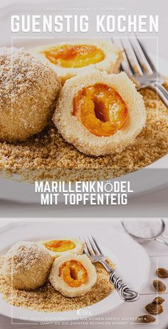 Marillenknödel mit Topfenteig ein Fixpunkt zur Erntezeit The recipe for apricot dumplings with pot batter is a deliciously sweet temptation. Fruit dumplings are not only very popular as a dessert, but are also extremely popular as a main meal. Pots, Muffins, Food Items, A Food, Ideias Fashion, Tasty, Sweets, Stuffed Peppers, Dishes