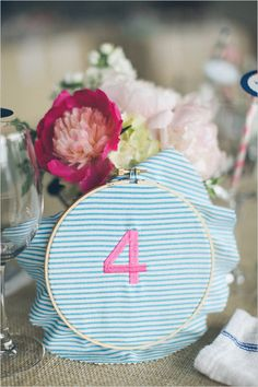 embroidered table numbers A Polished Plan Wedding Planner// Renbrook School West Hartford // Anna Naphtali Photography // Social Decor// Windham Gardens Farm // Party Rental Ltd