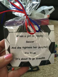 Girls soccer team treat bags filled with ponytail holders