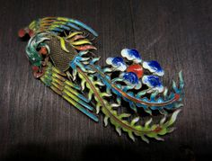 Art Deco Chinese Enamel Phoenix Brooch in Gilt Silver c. 1920 - Bavier-Brook.com