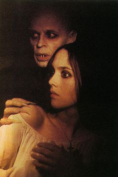 Isabelle Adjani as Lucy Harker and Klaus Kinski as Count Dracula in a promotional photo for Werner Herzog's 1979 film, Nosferatu Phantom der Nacht / Nosferatu the Vampyre.
