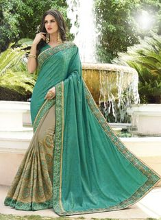Sea Green Silk Saree With Blouse 176743 Party Wear Kurtis, Party Wear Sarees, Light Turquoise, Turquoise Color, Grey Saree, Blue Saree, Latest Saree Trends, Salwar Pattern, Traditional Silk Saree