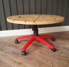 Wooden Coffee Table from cable drum and office chair byDavidMeddingsDeSign, £125.95