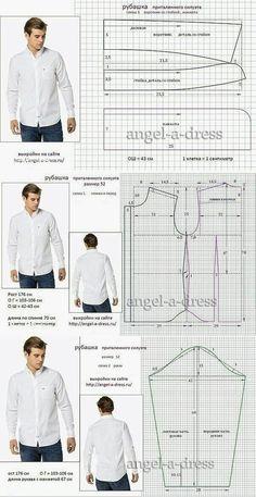 b683048a8e Patrones para camisa de hombre Roupas Masculinas