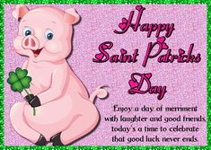 Paddy's Day wishes with this cute pig and good luck clover. Free online Saint Patrick Pig & Good Luck Clover ecards on St. Wishes For You, Day Wishes, Leprechaun Games, Good Luck Clover, You Are My Treasure, St Patricks Day Cards, Irish Blessing, Cute Pigs, Pot Of Gold