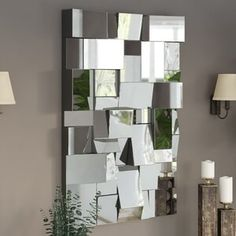 Wade Logan Pennsburg Rectangle Modern and Contemporary Beveled Accent Wall Mirror Silver Wall Mirror, Wall Mirrors Set, Mirrors For Sale, Round Wall Mirror, Beveled Mirror, All Modern, Modern Decor, Modern Wall, Mirrored Bedroom Furniture