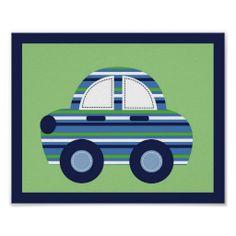 Car Transportation Boys Nursery Wall Art Print