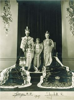 Coronation portrait of the Royal Family - King George VI, Queen Elizabeth, Princess Elizabeth and Princess Margaret.