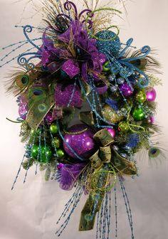 Peacock Christmas or Mardi Gras Wreath