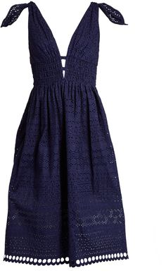 SELF-PORTRAIT Deep V-neck broderie-anglaise dress | #Chic Only #Glamour Always