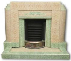 1930s Art Deco tiled fireplace with mottled green details