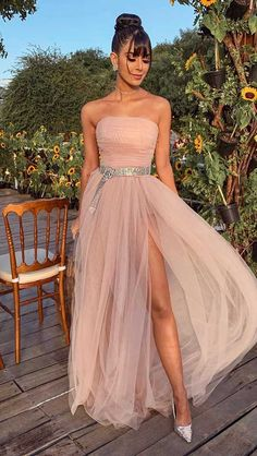 Strapless Long Prom Dress , Tulle Prom Dress With Split Strapless Prom Dresses, Tulle Prom Dress, Evening Dresses, Formal Dresses, Party Dresses, Mode Style, Ideias Fashion, Outfits, Clothes