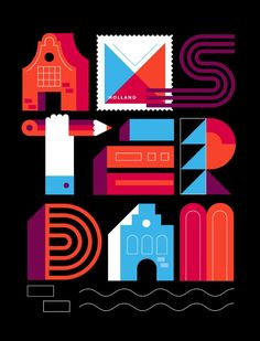 Postcards from Amsterdam / Typography Art Print by Koivo | Society6